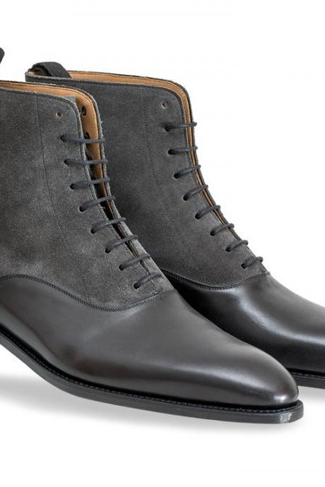 Handmade men two tone ankle boot, Mens black leather and gray suede boots