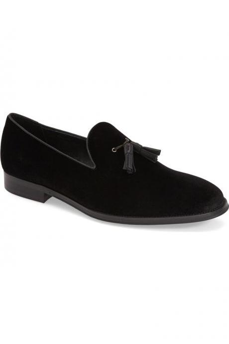 Handmade men black suede tassels loafer, Mens black casual suede shoes