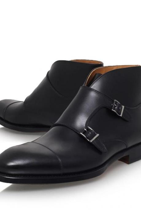 Handmade men double monk strap chukka boot, Men black ankle boot, Mens leather boot