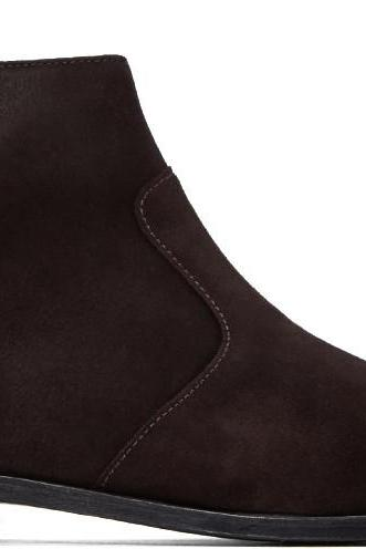 Handmade men dark brown side zip ankle boot, Men genuine suede ankle boot