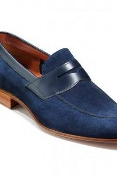 Men navy blue suede moccasins shoes, Men dress shoes, Men genuine suede formal shoes