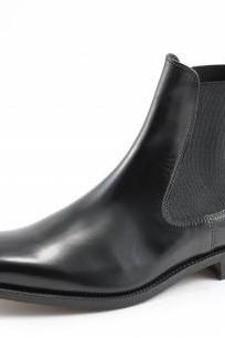 Men black genuine leather Chelsea boot,Men leather boot, Men ankle boot
