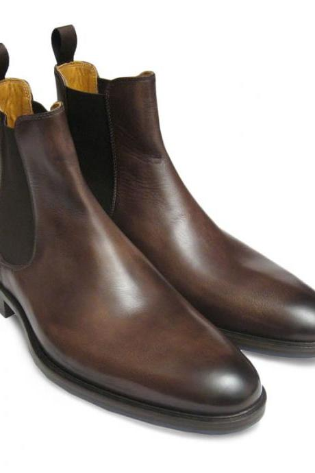 Men Brown genuine leather Chelsea boot,Men leather boot, Men ankle boot