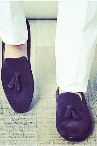 Handmade men Navy blue color tassel shoes, suede shoes, men blue shoes, casual suede moccasins shoes