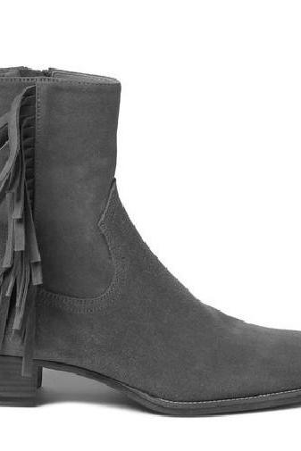 Men Gray color ankle high fringed ankle high suede Boot, Men suede leather high ankle boot