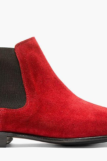 Handmade men Red color suede leather chelsea boot,Men red ankle boot