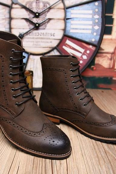 Handmade men brown lace up boot, Men brown high ankle Combat boot, Military boot