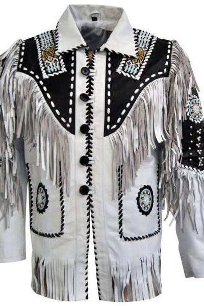 Men White Cow Leather Western Cowboy Jacket With Fringe, Mens fringe jackets, Cowboy jackets