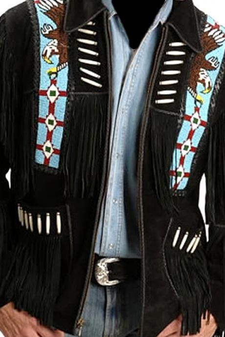 Men western fringe jackets, Men black fringe jacket, Men cow boy suede jacket, Men fringe jackets