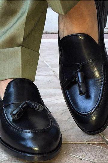 Handmade men black genuine leather tassel mocassins, Men formal shoes, Mens leather shoes