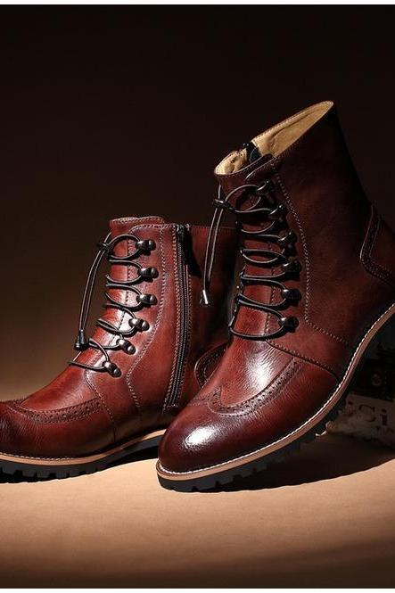 Handmade men lace-up ankle high leather boot, Men leather boots, Men brown boot
