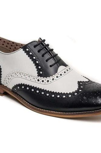 Handmade Men Wingtip Brogue Leather Shoes, Men Black And White Dress Shoes