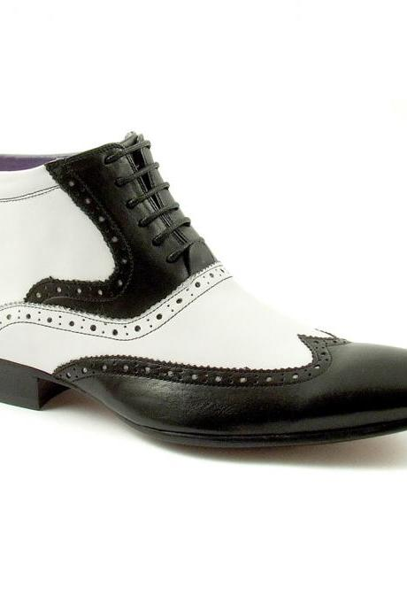 Handmade men black and white wingtip ankle boot, Men real leather boots, Mens boot