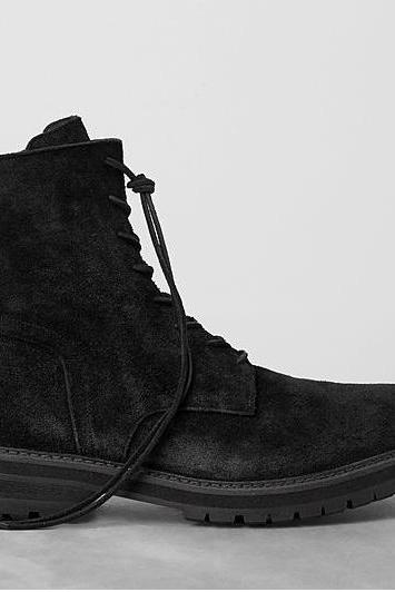 Handmade Men High Ankle Suede Leather Boots, Men Lace Up Ankle Boot, Men dark gray suede boot