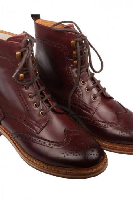Handmade Men Good Year Welted Sole Boot, Men Maroon Ankle High Leather Boot, Men lace-up boot