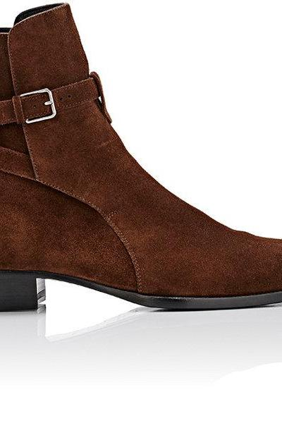 Handmade men brown jodhpurs ankle boot, Men ankle high boot, genuine suede boot