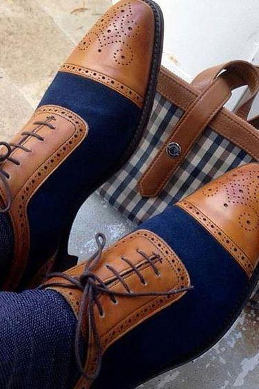 Handmade Men two tone brogue shoes, Men dress shoes, Men tan and blue formal shoes