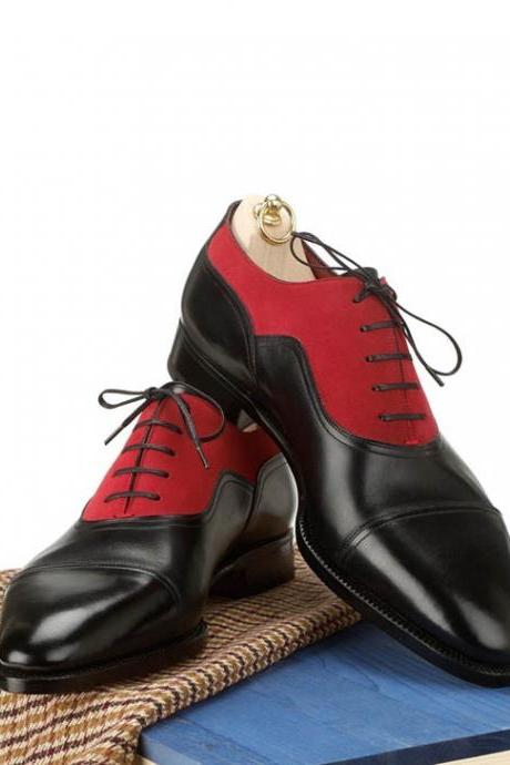 Handmade men two tone red and black formal shoes, Mens oxford dress shoes, Men shoes