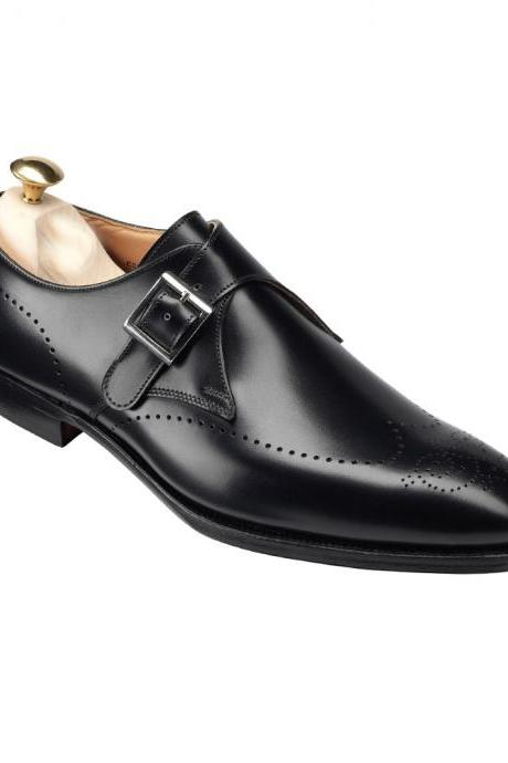 Handmade Men Formal Leather Shoes, Men Black Monk Shoes, Men Dress Shoes