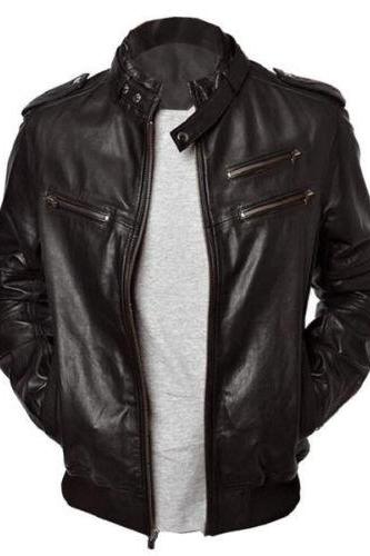 Men's leather jackets, Men black leather jacket, Men belted collar biker jacket, Jackets for men