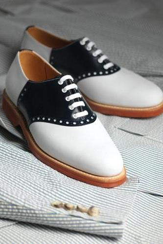 Handcrafted Men Black And White Formal Shoes,Men Tuxedo Shoes, Mens Shoes