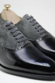 Handmade men two tone shoes, Men gray and black dress shoes, Mens formal shoes, leather shoes for mens