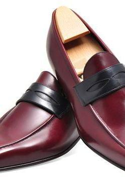 Handmade Mens Leather Shoes, Men Burgundy Genuine Leather Moccasins, Mens shoes