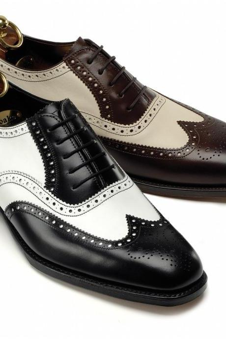 Handmade Men's Tuxedo shoes, Mens black and white Wingtip brogue leather shoes