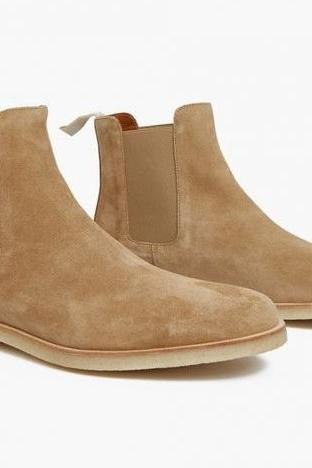Handmade men Tan suede leather boot, Men Tan Chelsea boots, Mens boot