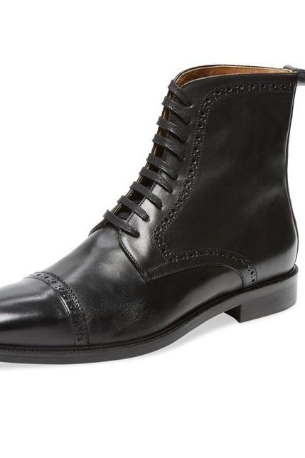 Handmade Men's Black ankle lace up boot, Mens Oxford black leather boot