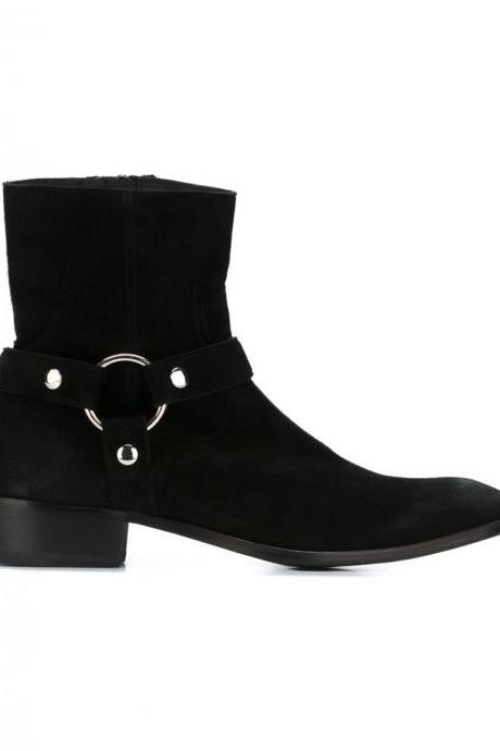 Handmade Men's Black Suede Biker Boot, Mens Suede Leather Ankle Boot