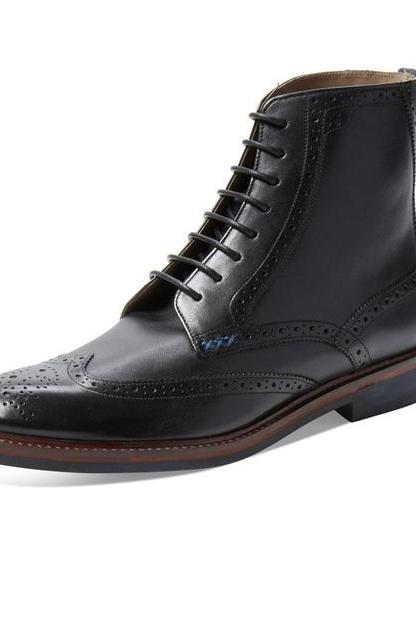 Handmade Men's brogue wingtip lace up boots, Men wingtip black leather boot