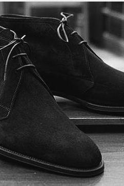 Handmade Mens Black suede chukka boots, Men Black laceup suede leather boot