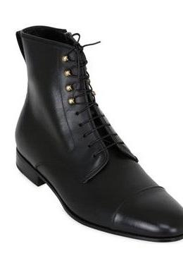 Men's Leather Ankle High Leather Boots with Metallic Eyelets