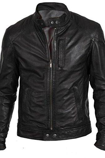 Handmade Men's black biker leather jacket, Jackets for men, Men leather jackets