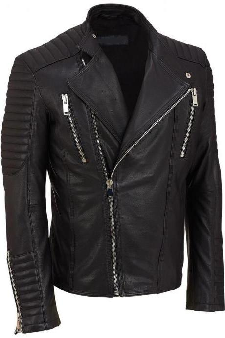 Handmade Men's Black biker leather jacket, Mens leather jacket, Mens plus size jackets