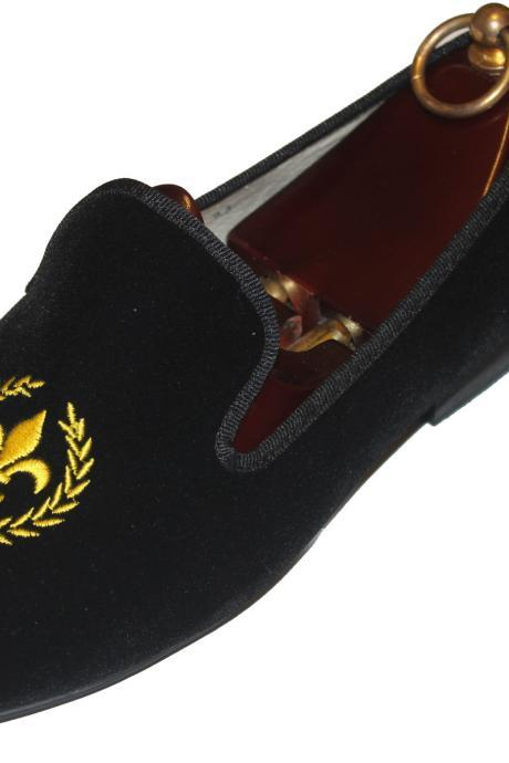 Handmade Black Velvet Shoes,Handmade Men Embroidered Velvet casual Shoes Slipper