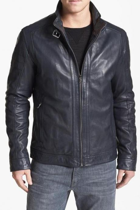 Mens black biker leather jacket, Men leather jacket, Biker leather jacket mens