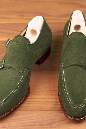 Handmade Mens hunter green suede monk shoes, Mens formal shoes, Men dress shoes