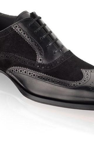 Handmade Men black wingtip suede and leather formal shoes, Men Tuxedo shoes