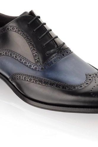 Handmade Mens Two tone formal shoes, Men Navy blue and Black dress leather shoes