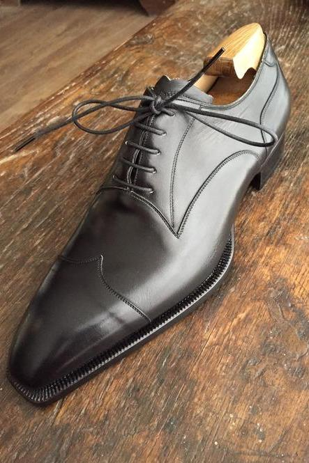 Handmade Mens Black Formal Shoes, Men Black Brogue Tuxedo Leather Shoes