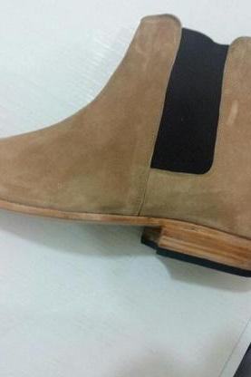 Handmade Men Beige Chelsea Boot, Men Beige Color Suede Boot, Men Ankle Boot, Make to order, Custom made boots