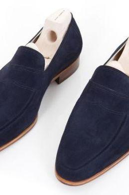Handmade Men Navy blue suede shoes moccasins, Men blue casual shoes slip ons
