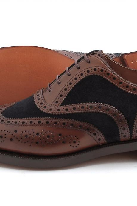 Two-tone Wingtip Brogue Shoes for Men