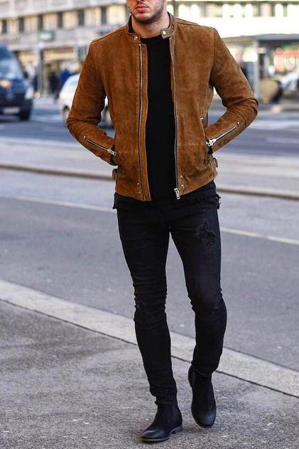 Men Tan brown fashion suede jacket, Men biker style casual fashion jacket
