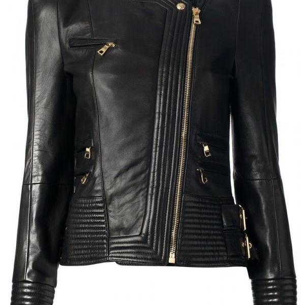 Women Black leather jacket, Leather jackets for women, Women fashion jackets