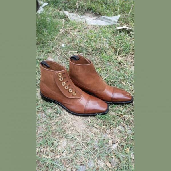 Handmade Men Tan Brown Leather Button Boots, Men Ankle Leather Button Boots