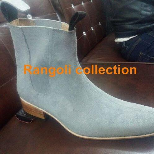 Handmade Men Gray color Chelsea boots Men pointed toe Chelsea boots, Men boots
