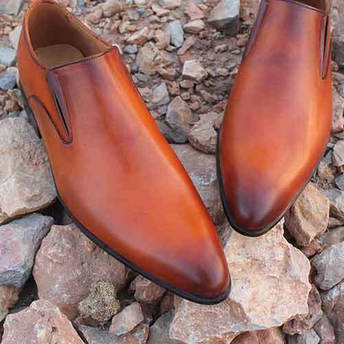 Handmade men Tan brown leather shoes moccasins, Men leather shoes